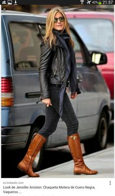 Brown and black neutrals. I love the boots and jacket.