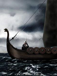 Viking on a Drakkar 3 by thecasperart on DeviantArt