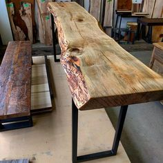 is soft wormy maple considered sustainable Live Edge Console Table, Live Edge Table, Raw Wood Furniture, Trendy Furniture, Rustic Table, Wooden Tables, Sideboard Dekor, Credenza, Slab Table