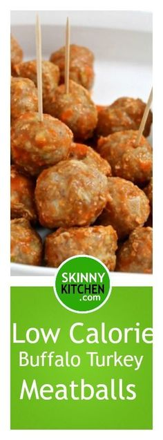 Low Calorie Buffalo Turkey Meatballs with Skinny Ranch Dressing. The fabulous flavors of buffalo chicken wings in these bite size meatballs. Each has 32 calories, 1g fat & 1 SmartPoints. http://www.skinnykitchen.com/recipes/low-calorie-buffalo-turkey-meatballs-with-skinny-ranch-dressing/