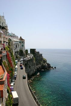 Take the drive along the Amalfi Coast of Italy, from Sorrrento south to Salerno.  Best to go in May or mid-Sept. to October.