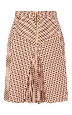 Bordeaux Pleated Checked Yoke Skirt by MANOUSH for Preorder on Moda Operandi