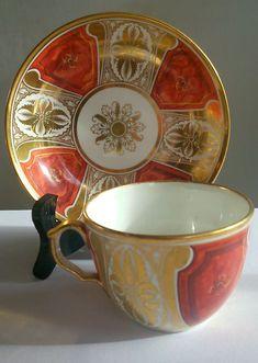 Antique Davenport cup & saucer. Orange & gilt. Pre-1830.