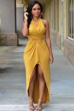 Woman summer dress 2015 european style yellow summer dress sexy halterneck high low dresses for women vestidos de novia 60592 Cheap Dresses, Sexy Dresses, Beautiful Dresses, Casual Dresses, Fashion Dresses, Summer Dresses, Formal Dresses, Sexy Outfits, Dress Outfits