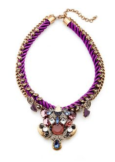 Purple Cord Crystal Statement Necklaces