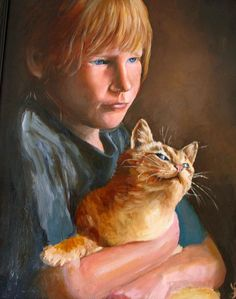 Child and Cat by Linda Bryant Cat Sketch, Big Eyes, Cat Love, Cat Art, Art Forms, Creative Art, Art History, Cats And Kittens, Dog Cat