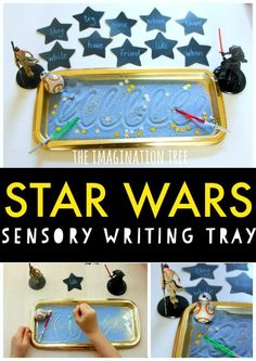 Make learning fun with this star wars themed sensory writing tray for kids! Make learning fun with this star wars themed sensory writing tray for kids! Spelling Activities, Alphabet Activities, Fun Activities For Kids, Sensory Activities, Handwriting Activities, Sensory Bins, Reading Activities, Sensory Play, Preschool Ideas