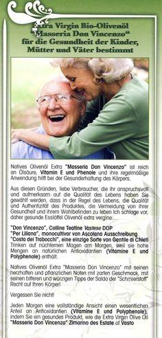 """Das Olivenöl extra vergine """"Masseria Don Vincenzo"""" für die Gesundheit der Kinder, Mütter und Väter sollen"""