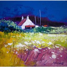 Autumn Gloaming, Isle of Gigha (Limited Edition) by John Lowrie Morrison - Art Prints Gallery Abstract Landscape, Landscape Paintings, Artist Art, Framed Art Prints, Painting & Drawing, Fine Art, Artwork, Cottages, Donegal