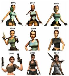 Tomb Raider over the years.  Clearly the 1996 is from the cut scenes, because in game--well, things were much more jagged.