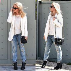 Zara Boyish Ripped Jeans, Zara Buckled Ankle Boots, Asos Chain Cross Bag, Zara Boyish Blazer, Romwe Blouse