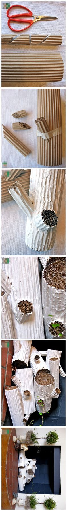 Cardboard and paint used to create faux birch decor. Could also think about a cactus Idea for a necklace hangar?