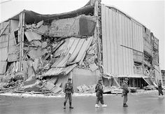File - In this March 28, 1964 file photo, with the city under martial law, soldiers patrol a downtown street in Anchorage, Alaska. In bacground is the wreckage of the five-story Penney store at Fifth Avenue and D Street. (AP Photo/File) ▼26Mar2014AP|Great Alaska Earthquake shook Alaska 50 years ago http://bigstory.ap.org/article/great-alaska-earthquake-shook-alaska-50-years-ago #Anchorage #1964_Alaska_earthquake #Good_Friday_Earthquake #Great_Alaskan_Earthquake