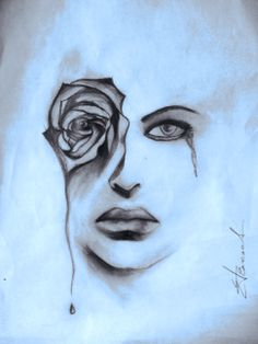 Abstract art - a woman's tears are roses
