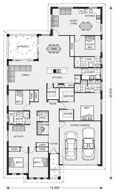 GJ Gardner single story house with attached granny flat. Two Storey House Plans, House Plans One Story, Best House Plans, Dream House Plans, Story House, House Floor Plans, House With Granny Flat, Granny Flat Plans, Home Design