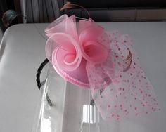 Pink Feather Sinamay Fascinator Hat with Veil by HettieSilovitz, $70.00