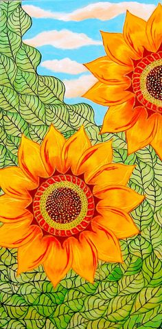 Sunflower Painting Acrylic Original Zentangle by artbyglorianna - $160 (Free shipping)