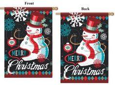 "Christmas Flag """"Vintage Cool Snowman"""" 2 Sided"