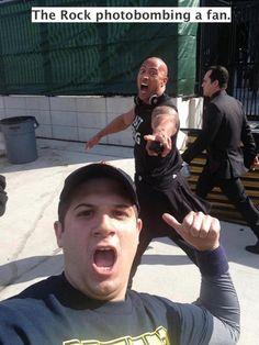 The Rock Photobombing a fan ! :D