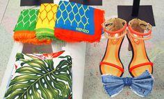 LOOK 1 - Kenzo Assortment of Scarves £460.00   LOOK 2 - Kenzo Neon Sandals $245.00  LOOK 3 - Maison Michel Denim Hair Bow £185.00