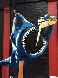 Shark and Beer graffiti 3d Street Art, Murals Street Art, Amazing Street Art, Street Art Graffiti, Mural Art, Street Artists, Amazing Art, Wall Art, Arte Bar