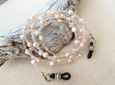 39ff6fa5ad03 Blush Pearl Eyeglass Chain Leash in Neutral Freshwater Pearls and Beads