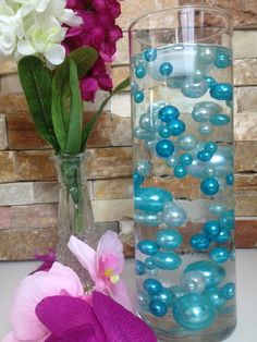 Vase Filler Pearls For Floating Pearl Centerpiece, Teal Blue/Light Blue Pearls 80 Jumbo & Mix Size Pearls, No Hole Pearls