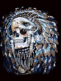 Skull and Eagle Indian Chief Tattoo, Indian Skull Tattoos, Sugar Skull Tattoos, Sugar Skull Art, Native American Tattoos, Native Tattoos, Warrior Tattoos, Los Muertos Tattoo, Norse Tattoo