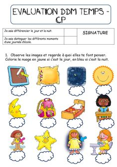 CP-CE1: EVALUATION JOUR NUIT ET JOURNEE DE L'ECOLIER Day For Night, Preschool Activities, Social Studies, Kids Learning, Kindergarten, Education, History, Transport, Grade 1