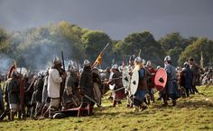 battle of hastings 1066: 2012 re-enactment: the sun sets on the Saxon English...