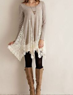 Light Gray Lace Dress