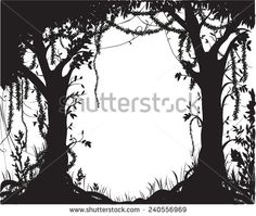 fairytale silhouette   thicket, deep fairy forest silhouette, jungle shadows - stock vector