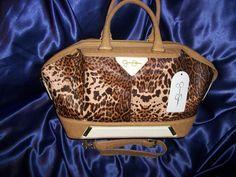 Jessica Simpson Sand Leopard Cheetah Print Cosmopolitan Satchel $84.99