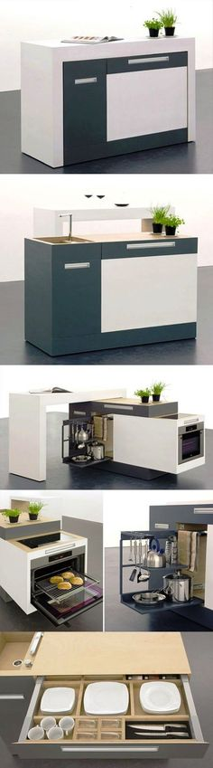 This compact modular kitchen in a box would be great when we finally build a barn and workspace.