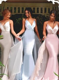 Buy Mermaid/Trumpet V-Neck Sweep Train Stain Ruched Backless Long Blue Prom Dress 2016 Bridesmaid Dresses under US$ 115.99 only in SimpleDress.