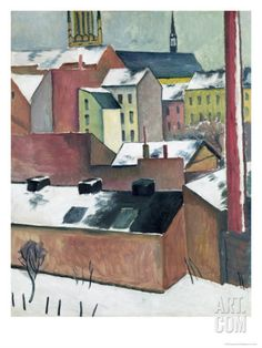 The Church of St Mary in Bonn in Snow, 1911 Giclee Print by Auguste Macke at Art.com