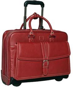 """Messenger bags are great for messengers and college students, but if you're taking your laptop to court, why not be a little stylish? This rolling laptop bag has lots of pockets and will fit a 17"""" laptop. It comes in black or this kicky red color, and won't make your opposing counsel roll their eyes when you walk into court."""