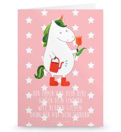 Grußkarte  Einhorn Gärtner aus Karton 300 Gramm  weiß - Das Original von Mr. & Mrs. Panda.  Die wunderschöne Grußkarte von Mr. & Mrs. Panda im Format Din Hochkant ist auf einem sehr hochwertigem Karton gedruckt. Der leichte Glanz der Klappkarte macht das Produkt sehr edel. Die Innenseite lässt sich mit deiner eigenen Botschaft beschriften.    Über unser Motiv  Einhorn Gärtner  Ein Einhorn Edition ist eine ganz besonders liebevolle und einzigartige Kollektion von Mr. & Mrs. Panda. Wie immer…