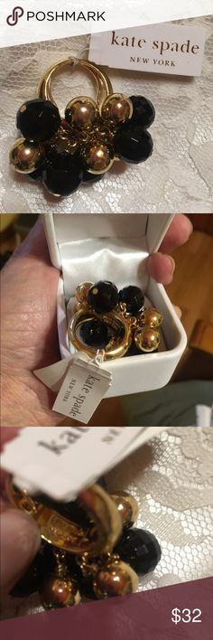 Kate Spade ring signed This Kate Spade ring is new with tag attached. It is called gum drops. It is marked on the inside see photo three. How much fun to wear it with it's black and gold beads.  original price $75.00 kate spade Jewelry Rings