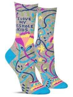 "These funny crew socks have a pattern of pretty flowers and the phrase, ""I love my asshole kids."" Doesn't every mom? Cool Socks For Men, Unique Socks, Awesome Socks, Blue Q Socks, Crazy Socks, Funny Socks, Novelty Socks, Kids Socks, Amazing Women"
