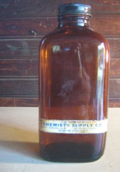 Antique Amber Chemists Bottle With Label Collectible Display Hollywood CA by MYBRICKHOUSE on Etsy