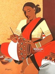 Indian Traditional Paintings, Modern Indian Art, Indian Folk Art, Indian Art Paintings, Woman Abs, Saree Painting Designs, Rajasthani Art, Madhubani Art, Sketch Painting