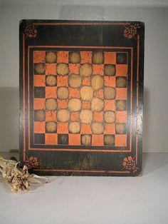AAFA Signed Folk Art Checkerboard Gameboard Antique Gameboard Original Paint