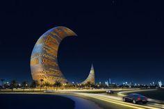 Dubai's Crescent Moon Tower! So Pretty!!