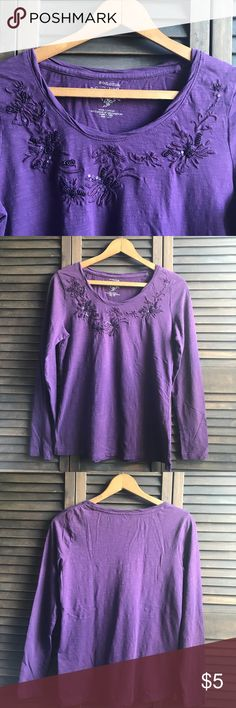 Embroidered Top 🛍 Plum purple long sleeve casual top embroidered with sequins and seed beads features a  twisted neckline.  🛍 100% cotton   🛍 SZ Small   🛍 Normal wear. Good condition, no holes or stains etc. Selling for my mom Sonoma Tops