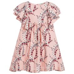 This Fendi dress for girls hasa gorgeous pink Japanese blossom print and ruffled shoulders. It is made in a fully lined viscose, and has soft gathers around the waist for a flattering shape.
