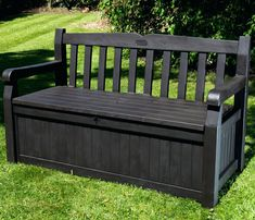 Build outdoor bench with storage to match your wooden patio furniture with a few simple instructions. Teak, cedar, redwood or treated wood Small Storage Bench, Garden Storage Bench, Garden Bench Plans, Pool Storage, Wooden Garden Benches, Storage Bench Seating, Outdoor Storage, Plastic Storage, Storage Ideas