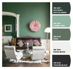 "Sherwin-Williams ""Basil"" seems to be a good match @Ashley (Neal) Craig"