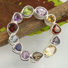 Natural MULTI-COLOR Faceted Gemstones 925 Sterling Silver Chakra Design Pendant #Unbranded #Pendant
