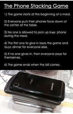 The phone stacking game family table friends dinner conversation community